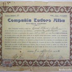 Coleccionismo Acciones Extranjeras: ACCION DE LA COMPAÑIA EUDORO ALBA - HABANA CUBA 1956. Lote 66104070