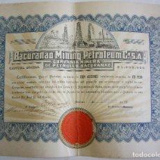 Coleccionismo Acciones Extranjeras: TITULO DE 100 ACCIONES DE LA COMPAÑIA DE PETROLEO BACURANAO MINING PETROLEUM - HABANA CUBA 1918. Lote 66106182