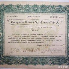 Coleccionismo Acciones Extranjeras: ACCION DE UN PESO DE LA COMPAÑIA MINERA LA CORONA - HABANA CUBA 1918 . Lote 66126538