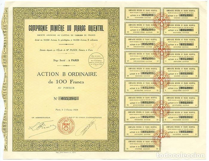 COMPAGNIE MINIÈRE DU MAROC ORIENTAL. ACTION B ORDINAIRE DE 100 FRANCS. PARIS 1929 (Coleccionismo - Acciones Extranjeras )