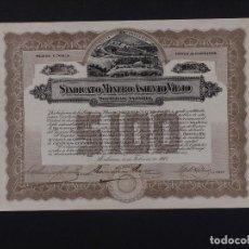 Coleccionismo Acciones Extranjeras: SINDICATO MINERO ASIENTO VIEJO, HABANA 1917. Lote 67309117