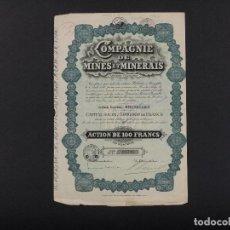 Coleccionismo Acciones Extranjeras: COMPAGNIE DE MINES ET MINERAIS, BRUXELLES 1928. Lote 69488385