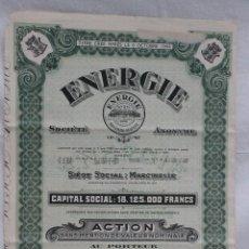 Coleccionismo Acciones Extranjeras: ACCION ENERGIE SOCIETE ANONYME, MARCINELLE, BELGICA 1954. Lote 75022983