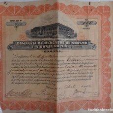 Coleccionismo Acciones Extranjeras: ACCION COMPAÑIA DE MERCADOS DE ABASTO Y CONSUMO , HABANA , CUBA , 1920 , ORIGINAL ,J. Lote 81001520
