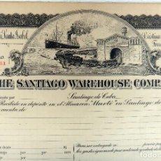 Coleccionismo Acciones Extranjeras: ACCION FERROCARRIL SANTIAGO WAREHOUSE COMPANY , 191...., BARCO TREN , CUBA , ORIGINAL , J. Lote 81002076