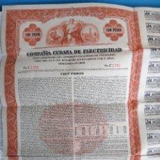 Coleccionismo Acciones Extranjeras: ACCION ELECTRICA , CUBAN ELECTRIC, COMPAÑIA CUBANA ELECTRICIDAD, 1950 ,100 PESOS CUBA , ORIGINAL , J. Lote 81003332