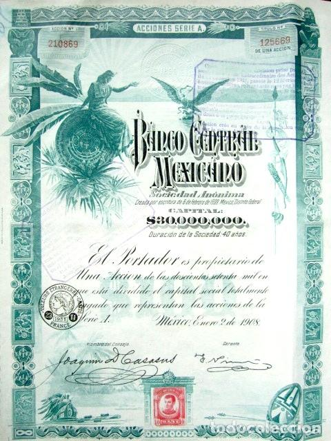 BONO BANCO CENTRAL MEXICANO AÑO 1908 CON CUPONES (Coleccionismo - Acciones Extranjeras )
