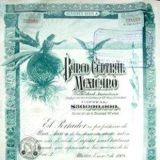Coleccionismo Acciones Extranjeras: BONO BANCO CENTRAL MEXICANO AÑO 1908 CON CUPONES. Lote 86354644