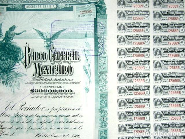 Coleccionismo Acciones Extranjeras: BONO BANCO CENTRAL MEXICANO AÑO 1908 CON CUPONES - Foto 2 - 86354644