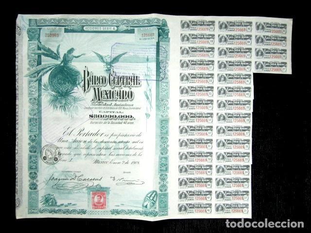Coleccionismo Acciones Extranjeras: BONO BANCO CENTRAL MEXICANO AÑO 1908 CON CUPONES - Foto 3 - 86354644
