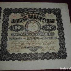 Coleccionismo Acciones Extranjeras: ANTIGUA ACCION EXTRANJERA,DRAGAS ARGENTINAS DEL 1888. Lote 94451226