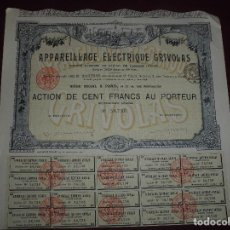 Coleccionismo Acciones Extranjeras: ACCION EXTRANJERA, APPAREILLAGE ELECTRIQUE GRIVOLAS,DEL 1896. Lote 94561367