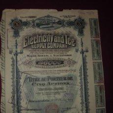 Coleccionismo Acciones Extranjeras: ACCION EXTRANJERA,ELECTRICITY AND ICE SUPPLY COMPANY DEL 1929 ALEXANDRIA. Lote 94562575