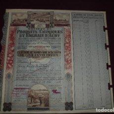 Coleccionismo Acciones Extranjeras: ACCION EXTRANJERA,PRODUITS CHIMEQUES ET ENGRAIS D'AUBY,DEL 1946. Lote 94563415