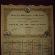 Coleccionismo Acciones Extranjeras: ACCION EXTRANJERA,GRENETERIA MARSEILLAISE JOSEPH SEGOND,DEL 1924. Lote 94563715
