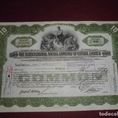 Coleccionismo Acciones Extranjeras: ACCION EXTRANJERA,THE INTERNATIONAL NICKEL COMPANY OF CANADA,LIMITED,DEL 1930. Lote 94565163