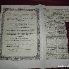 Coleccionismo Acciones Extranjeras: ACCION EXTRANJERA,COMPAGNI AUSTRO-BELGE PETROLE DEL 1896. Lote 94565263