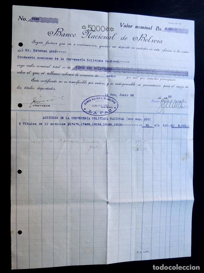 BANCO DE BOLIVIA AÑO 1933 / CERTIFICADO DEPOSITO - ACCIONES DE LA CERVECERIA BOLIVIANA NACIONAL (Coleccionismo - Acciones Internacionales)