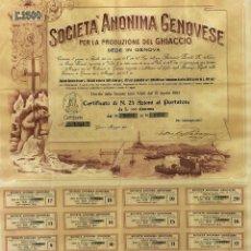 Coleccionismo Acciones Extranjeras: SOCIETÀ ANONIMA GENOVESE DEL GHIACCIO. 16 ACCIONES. PAPEL IMPRESO. ITALIA. 1903. Lote 97709935