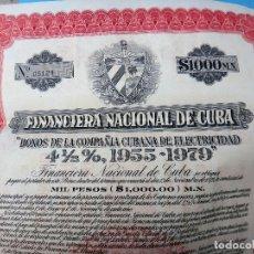 Coleccionismo Acciones Extranjeras: ACCION FINANCIERA NACIONAL DE CUBA , BONOS DE 1000 $, 1955 , ORIGINAL ,CON CUPONES, AC. Lote 102632143