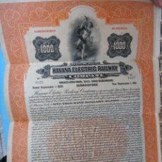 Coleccionismo Acciones Extranjeras: ACCION HAVANA ELECTRIC RAILWAY , FERROCARRIL CUBA USA , 1000 $, 1926 , ORIGINAL , AC. Lote 102633427
