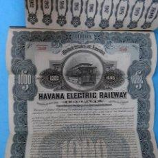 Coleccionismo Acciones Extranjeras: ACCION HAVANA ELECTRIC RAILWAY , FERROCARRIL CUBA USA , 1000 $, 1926 , ORIGINAL, AC. Lote 102633603
