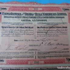 Coleccionismo Acciones Extranjeras: ACCION FERROCARRIL , UNITED HAVANA REGLA LIMITED, 1906 , 500 PESOS $, ORIGINAL, AC. Lote 102635307
