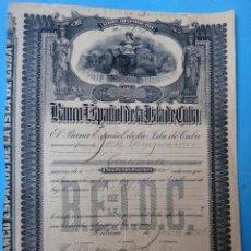 Coleccionismo Acciones Extranjeras: ACCION BANCO ESPAÑOL DE LA ISLA DE CUBA , 1916 , 100 PESOS FUERTES , ORIGINAL, AC. Lote 102635639