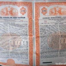 Coleccionismo Acciones Extranjeras: ACCION COMPAÑIA CUBANA DE ELECTRICIDAD , 1950 , 50 PESOS ,CUBA , ORIGINAL , AC. Lote 145631008