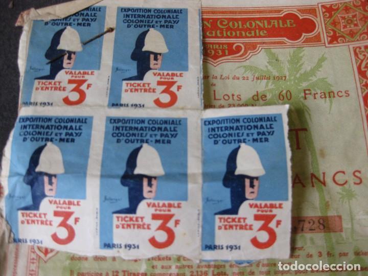 Coleccionismo Acciones Extranjeras: bonos y 5 tiquet de entrada . exposition coloniale paris 1931 exposicion colonial accion - Foto 2 - 103048219