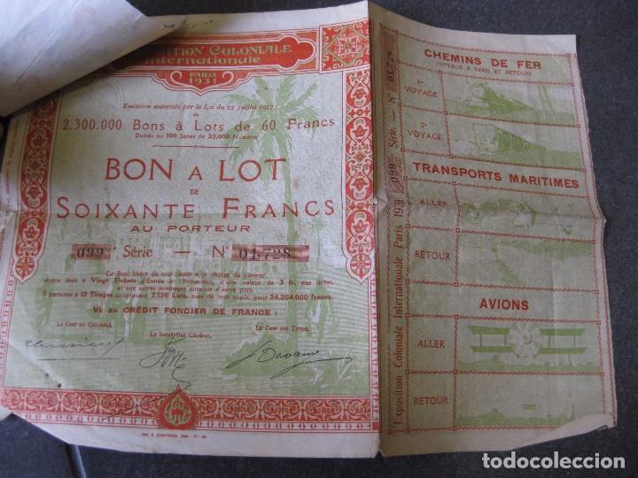Coleccionismo Acciones Extranjeras: bonos y 5 tiquet de entrada . exposition coloniale paris 1931 exposicion colonial accion - Foto 3 - 103048219