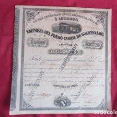 Coleccionismo Acciones Extranjeras: ANTIGUA ACCÓN EMPRESA DEL FERRO-CARRIL DE GUANTÁNAMO.. Lote 103336419