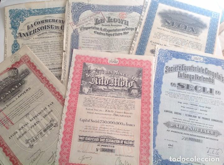 1920´S - 1940´S * LOTE DE 6 ACCIONES DIFERENTES DEL CONGO BELGA * AFRICA (Coleccionismo - Acciones Internacionales)