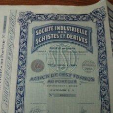 Coleccionismo Acciones Extranjeras: 014. ACTION. ACCION DE 1933. SOCIETE INDUSTRIELLE DES SCHISTES ET DERIVES. Lote 104978046
