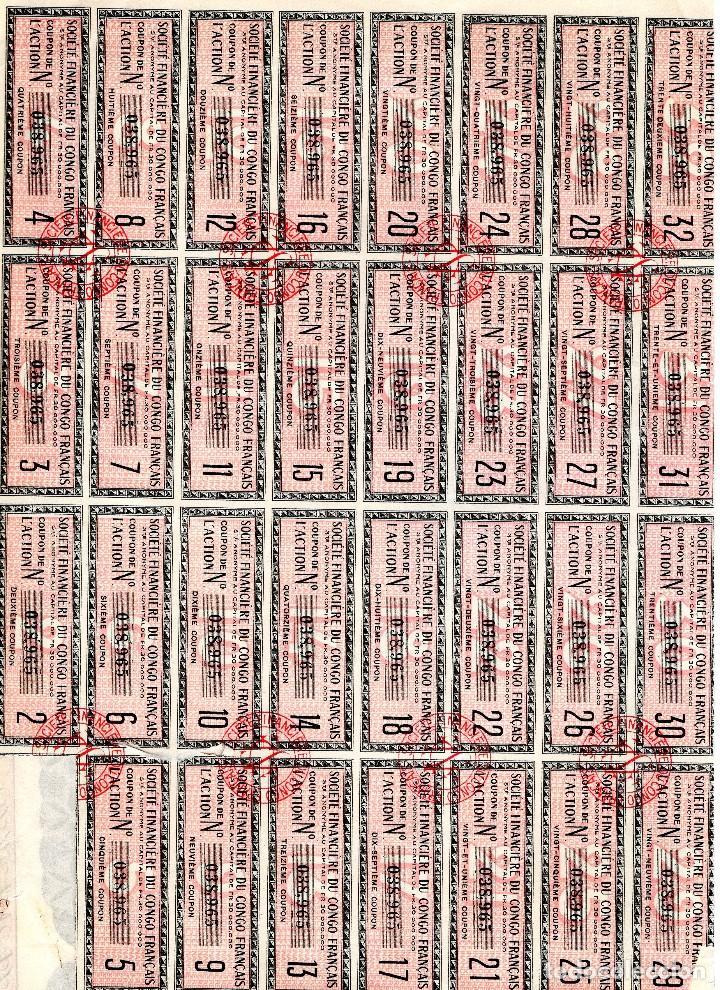 Coleccionismo Acciones Extranjeras: SOCIETE FINANCIERE DU CONGO FRANCAIS AÑO 1928 500 FRANCS - Foto 2 - 109108811