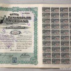 Coleccionismo Acciones Extranjeras: ACCION BANCO PENINSULAR MEXICANO. MERIDA. MEXICO. 1 DE JULIO DE 1908. Lote 109258252