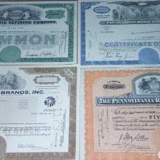 Coleccionismo Acciones Extranjeras: LOTE DE 4 ACCIONES AMERICANAS. Lote 109272979