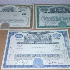 Coleccionismo Acciones Extranjeras: LOTE DE 3 ACCIONES AMERICANAS. Lote 109273510