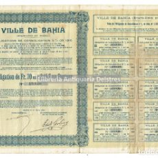 Coleccionismo Acciones Extranjeras: [OBLIGATIONS. BOLSA. BAHIA (BRASIL). 1918] VILLE DE BAHIA (ÉTATS-UNIS DU BRÉSIL). Lote 109526643