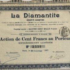 Coleccionismo Acciones Extranjeras: LA DIAMANTITE SOCIÉTÉ ANONYME, 1897. Lote 110495763