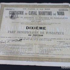 Coleccionismo Acciones Extranjeras: ACCIÓN DE LA COMPAGNIE DU CANAL MARITIME DU NORD,PARIS 1892.. Lote 113451527