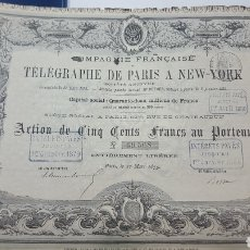 Coleccionismo Acciones Extranjeras: ACCION COMPAÑIA FRANCESA TELÉGRAFO PARIS A NUEVA YORK. 1879. CUPONES. Lote 115243412