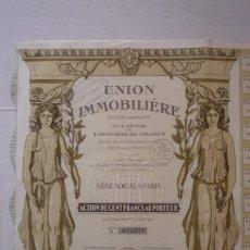 Coleccionismo Acciones Extranjeras: 'UNION INMOBILIERE'. ACCIÓN DE CIEN FRANCOS AL PORTADOR. PARÍS 1925. PRECIOSA ILUSTRACIÓN MODERNISTA. Lote 115249015