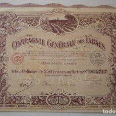 Coleccionismo Acciones Extranjeras: 'COMPAGNIE GÉNÉRALE DES TABACS'. PARIS 1927. ACCIÓN ORDINARIA AL PORTADOR DE 250 FRANCOS. Lote 115959967