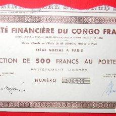 Coleccionismo Acciones Extranjeras: SOCIETE FINANCIERE DU CONGO - PARIS - 1920. Lote 116598087
