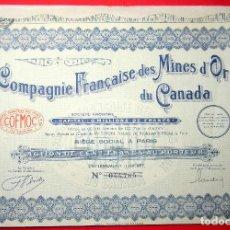 Coleccionismo Acciones Extranjeras: COMPAGNIE FRANCAISE DES MINES D´OR DU CANADA - PARIS - 1929. Lote 116599183