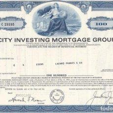 Colecionismo Ações Internacionais: CITY INVESTING MORTGAGE GROUP, 1969. Lote 116703335