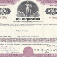 Coleccionismo Acciones Extranjeras: GAC CORPORATION, BONO CONVERTIBLE. Lote 116707247