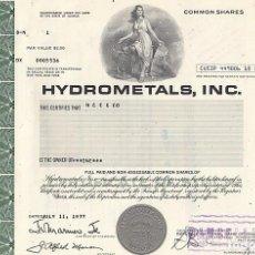 Colecionismo Ações Internacionais: HYDROMETALS, INC 1977. Lote 116707931