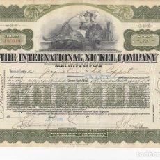 Colecionismo Ações Internacionais: THE INTERNATIONAL NICKEL COMPANY, 1925. Lote 116723203